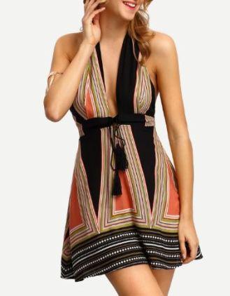 bohemian neckholder kleid